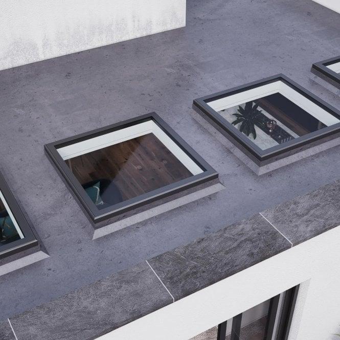 Aluminium Flat Rooflight - Anthracite Grey 1500mm x 1500mm