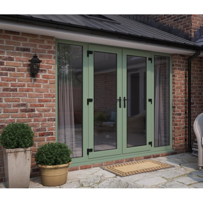 ATT Fabrications Model 4 French Door Chartwell Green (Dual Handle) + 2 x Wide Sidelites (Overall size 2390mm x 2090mm)
