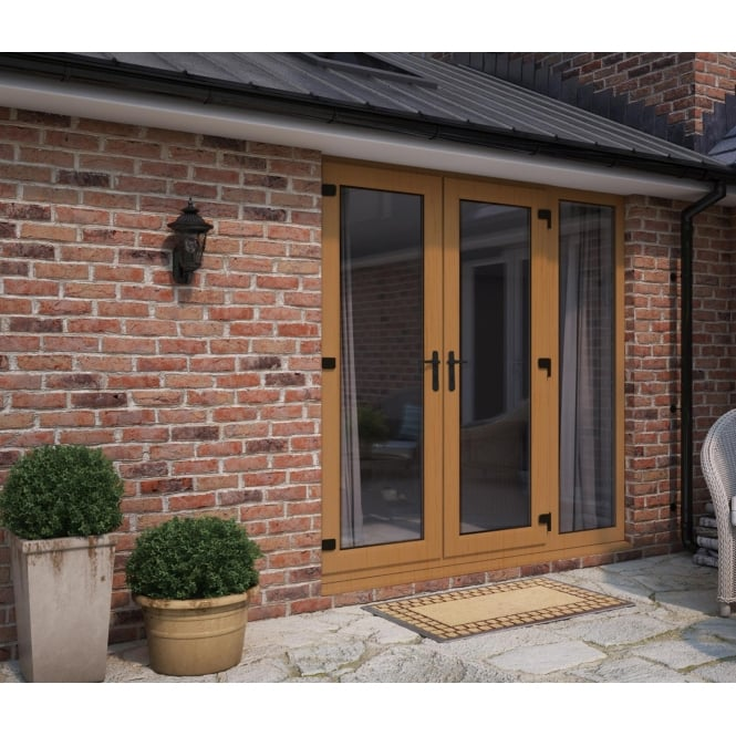 ATT Fabrications Model 4 French Door Golden Oak (Dual Handle) + 1 x Wide Sidelite (Overall size 1790mm x 2090mm)