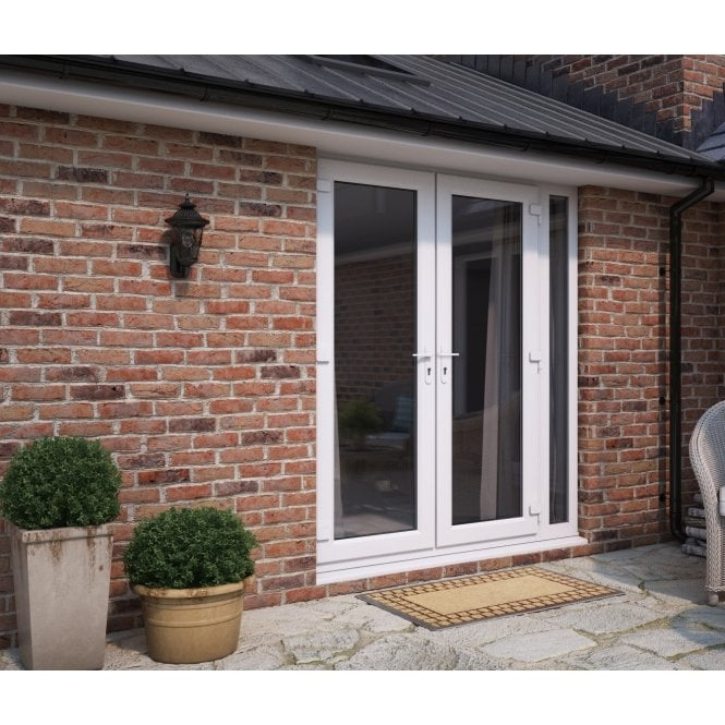 ATT Fabrications Model 4 French Door White (Dual Handle) + 1 x Narrow Sidelite (Overall size 1490mm x2090mm)