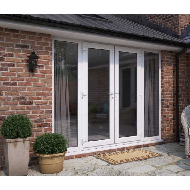 ATT Fabrications Model 4 French Door White (Dual Handle) + 2 x Wide Sidelites (Overall size 2390mm x 2090mm)