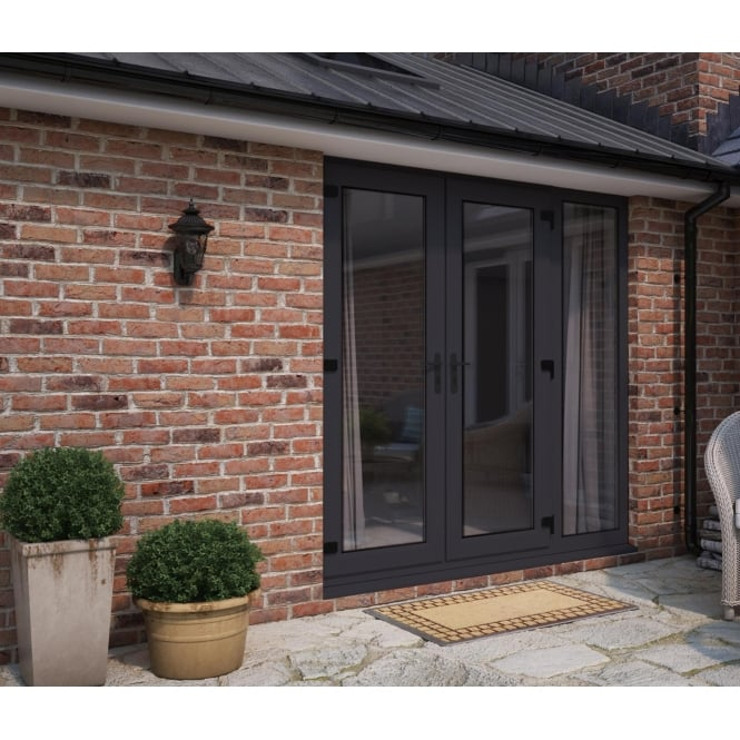 ATT Fabrications Model 5 French Door Anthracite Grey (Dual Handle) + 1 x Wide Sidelite (Overall size 2090mm x 2090mm)