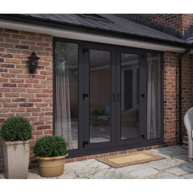 ATT Fabrications Model 5 French Door Anthracite Grey (Dual Handle) + 2 x Wide Sidelites (Overall size 2690mm x 2090mm)