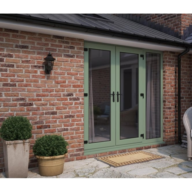ATT Fabrications Model 5 French Door Chartwell Green (Dual Handle) + 1 x Wide Sidelite (Overall size 2090mm x 2090mm)
