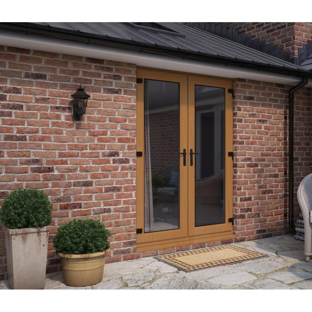 Att Fabrications Model 5 Golden Oak French Door Set Dual Handle