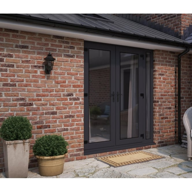 ATT Fabrications Model 6 French Door Anthracite Grey (Dual Handle) + 1 x Narrow Sidelite (Overall size 2090mm x2090mm)