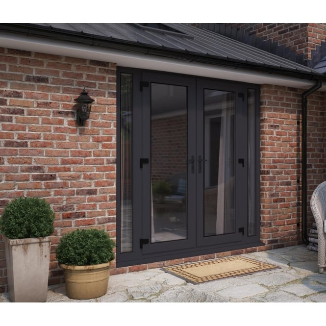 ATT Fabrications Model 6 French Door Anthracite Grey (Dual Handle) + 2 x Narrow Sidelites (Overall size 2390mm x2090mm)