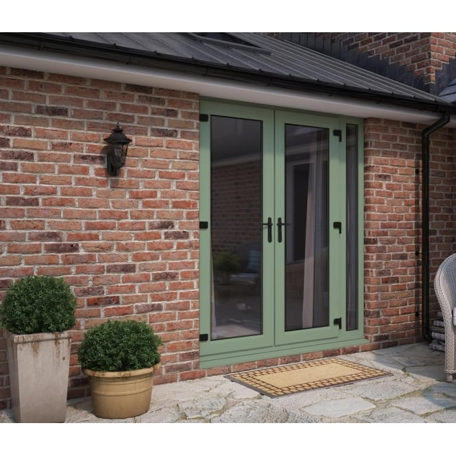 ATT Fabrications Model 6 French Door Chartwell Green (Dual Handle) + 1 x Narrow Sidelite (Overall size 2090mm x 2090mm)