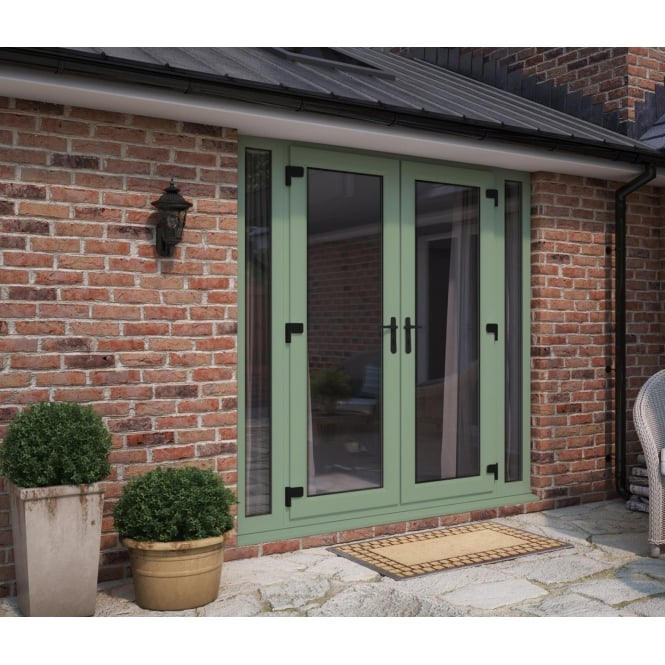 ATT Fabrications Model 6 French Door Chartwell Green (Dual Handle) + 2 x Narrow Sidelites (Overall size 2390mm x 2090mm)