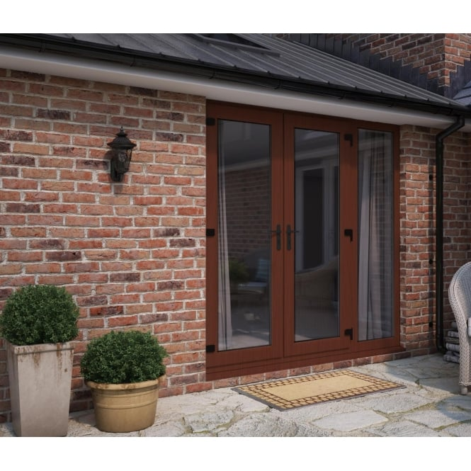 ATT Fabrications Model 6 French Door Rosewood (Dual Handle) + 1 x Wide Sidelite (Overall size 2390mm x 2090mm)