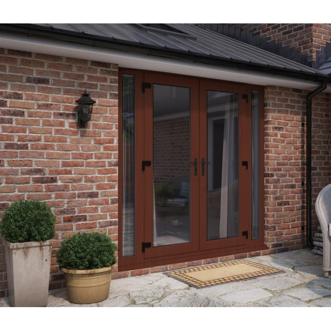 ATT Fabrications Model 6 French Door Rosewood (Dual Handle) + 2 x Narrow Sidelites (Overall size 2390mm x 2090mm)
