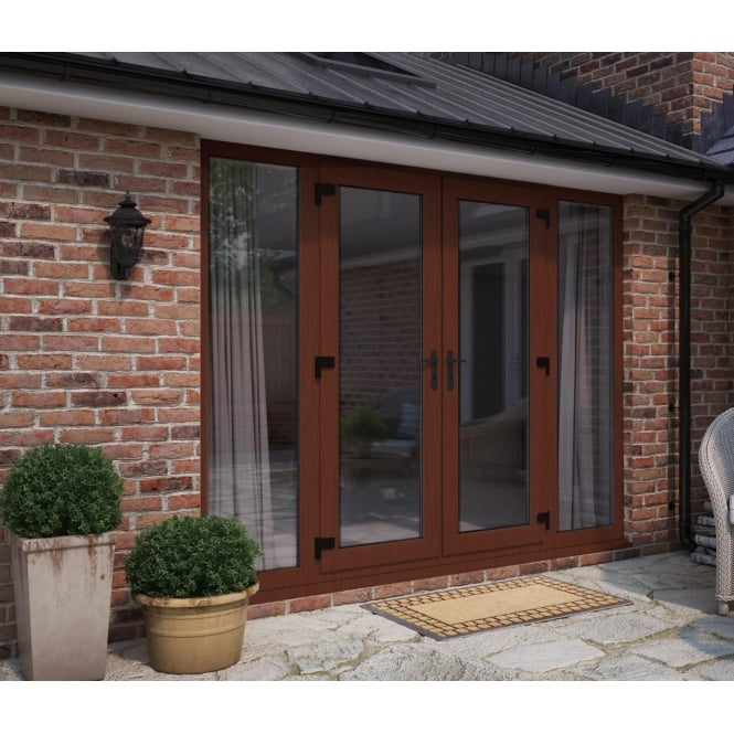 ATT Fabrications Model 6 French Door Rosewood (Dual Handle) + 2 x Wide Sidelites (Overall size 2990mm x 2090mm)