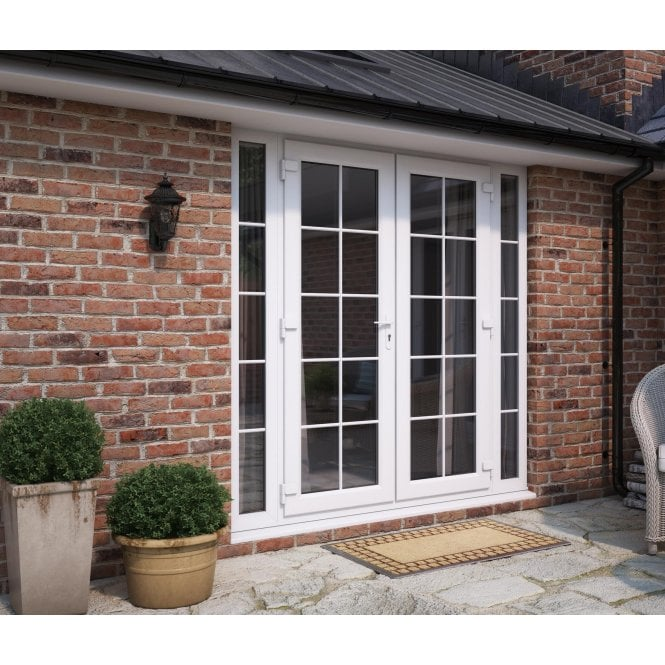 ATT Fabrications Model 4 French Door White GEORGIAN Single Handle + 2 x 290 Slite (Overall size 1790mm x2090mm)
