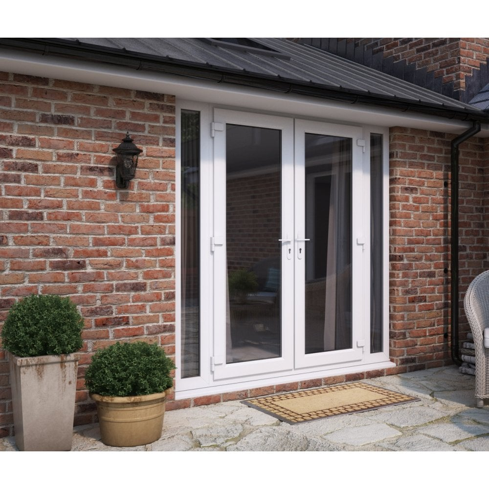 Model 6 French Doors with Dual Handles & 2 Narrow Sidelites