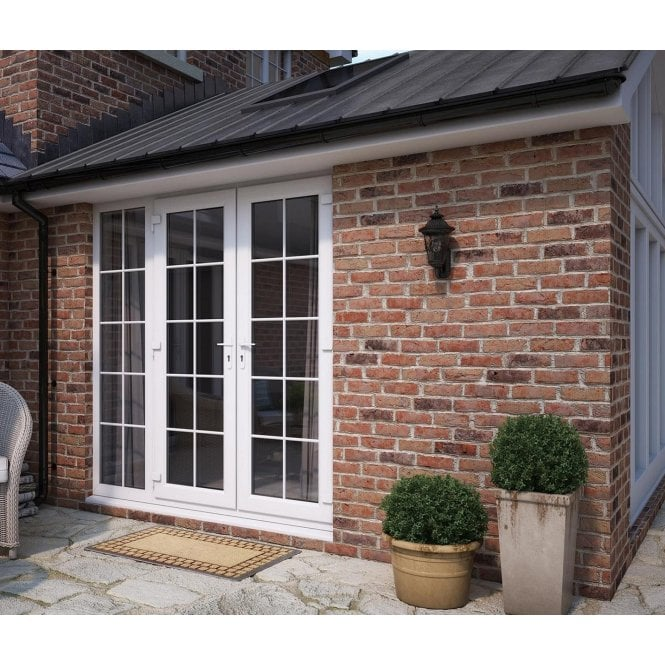 ATT Fabrications Model 6 French Door White GEORGIAN Dual Handle + 1 x 590 Slite (Overall size 2390mm x2090mm)