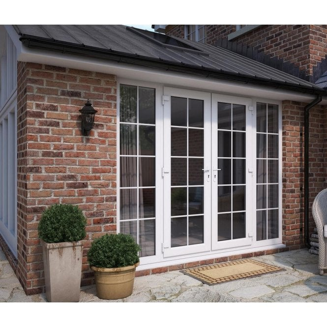 ATT Fabrications Model 6 French Door White GEORGIAN Dual Handle + 2 x 590 Slite (Overall size 2990mm x2090mm)