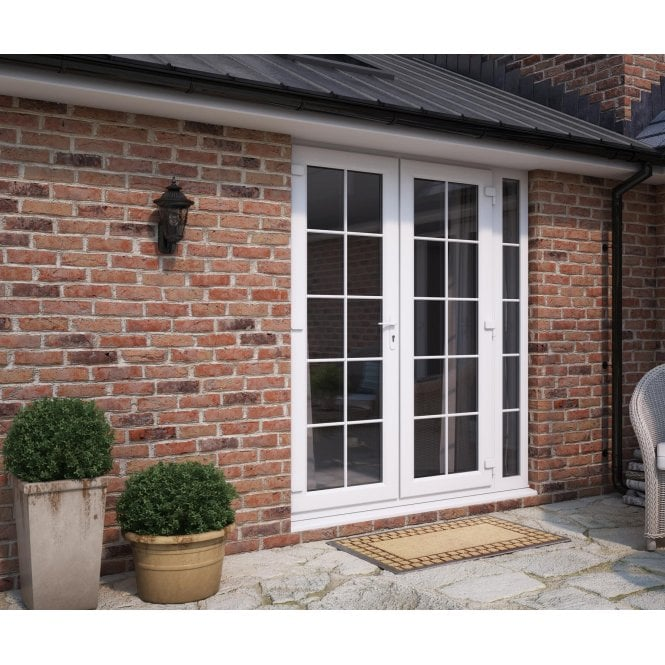 ATT Fabrications Model 6 French Door White GEORGIAN Single Handle + 1 x 290 Slite (Overall size 2090mm x2090mm)