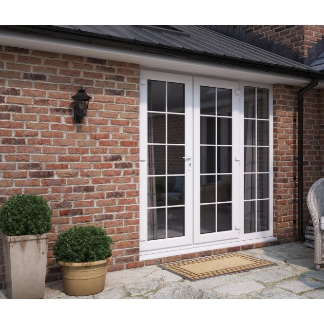 ATT Fabrications Model 6 French Door White GEORGIAN Single Handle + 1 x 590 Slite (Overall size 2390mm x2090mm)