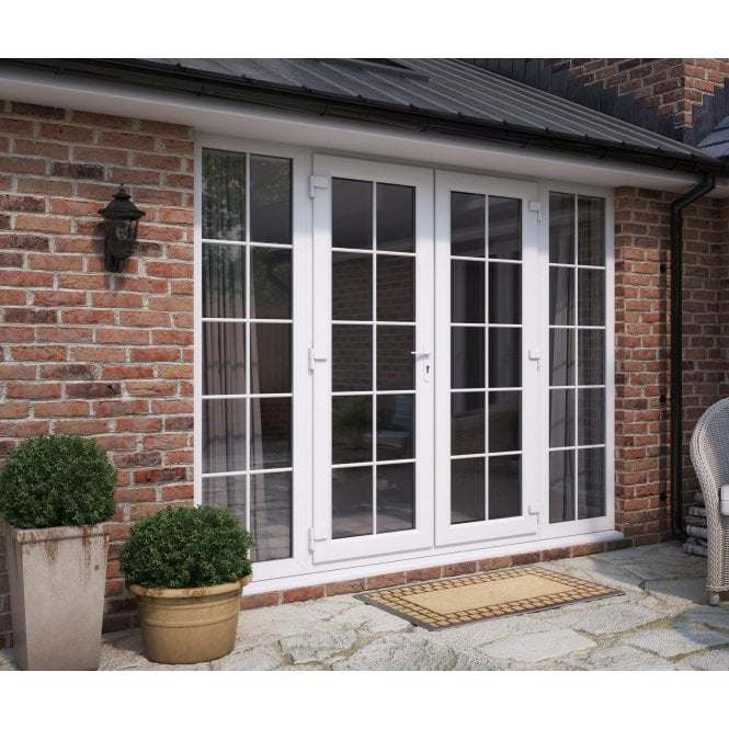 ATT Fabrications Model 6 French Door White GEORGIAN Single Handle + 2 x 590 Slite (Overall size 2990mm x2090mm)