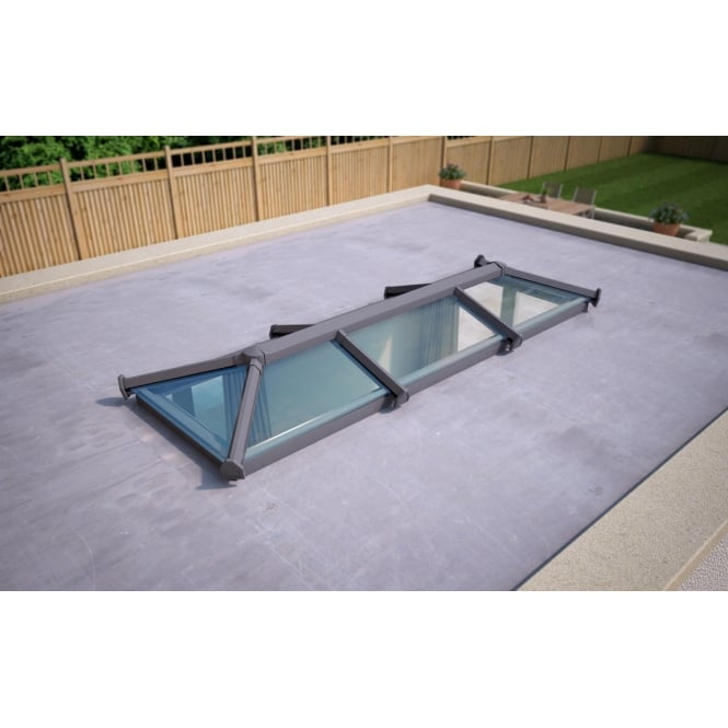 Skypod Glass Roof Lantern - Anthracite Grey - Activ Blue Glass - 1000mm x 3000mm