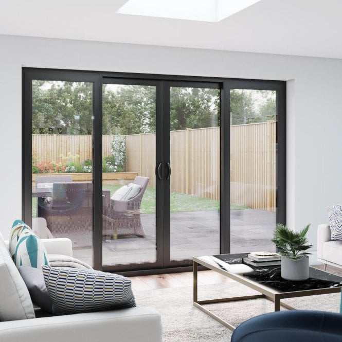 Smarts M12 Aluminium Patio Door Set 3590mm x 2090mm 4 door - 2 centre sliding panels