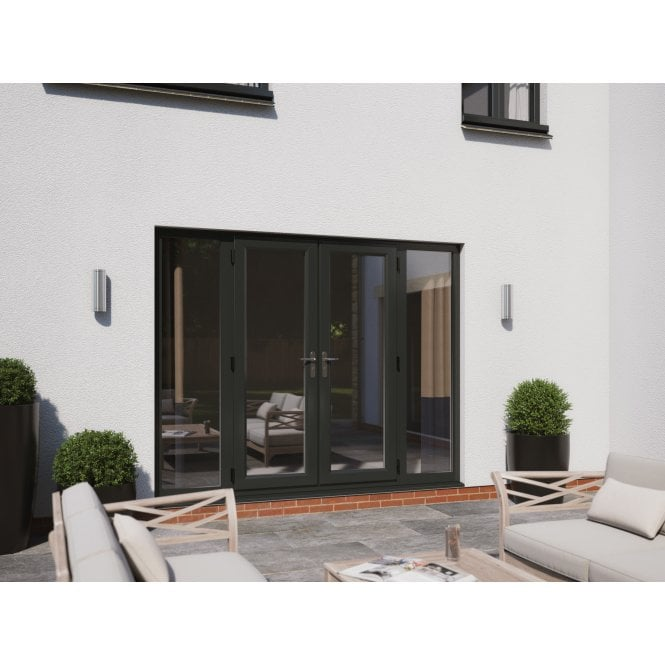 Smarts Model 4 Aluminium French Door + 2 x 600 Sidelites Overall size 2390mm x2090mm